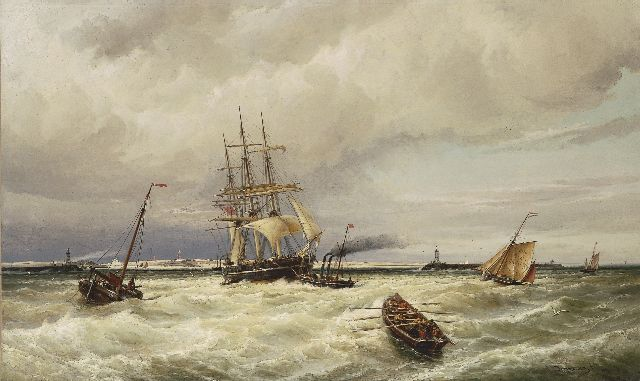 Cornelis Christiaan Dommelshuizen | Shipping in a stiff breeze, oil on canvas, 76.9 x 127.0 cm, signed l.r. and dated 1880