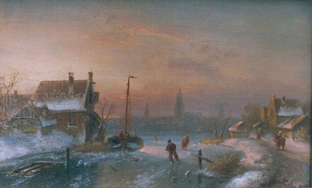 Charles Leickert | Skaters on a frozen waterway, oil on canvas laid down on painter's board, 21.2 x 33.3 cm, signed l.r.