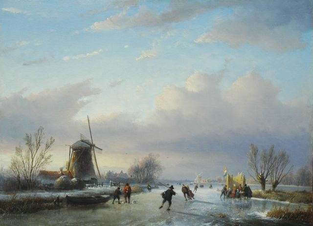 Jan Jacob Spohler | Dutch winter landscape with skaters on the ice, oil on panel, 38.2 x 51.6 cm, signed l.l.