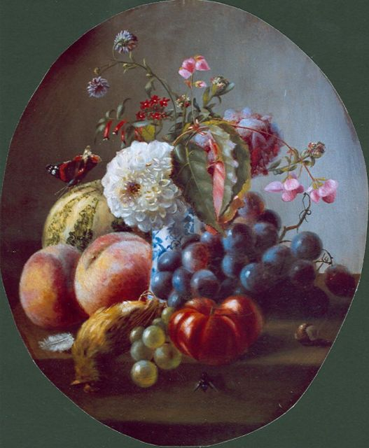 Margaretha Roosenboom | A still life with peaches, flowers and grapes, oil on panel, 40.0 x 33.6 cm, signed l.c. and dated 1859