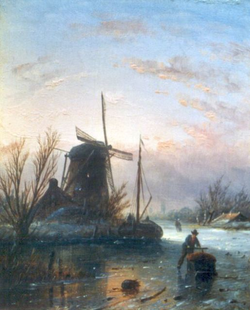 Jacob Jan Coenraad Spohler | Skaters on a frozen waterway, oil on panel, 13.9 x 11.2 cm, signed l.l. with initials