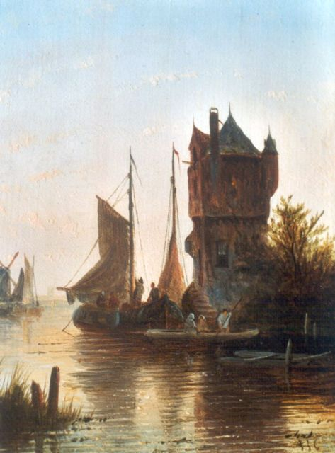 Jacob Jan Coenraad Spohler | Moored flatboats by a tower, oil on panel, 13.7 x 11.2 cm, signed l.r. with initials