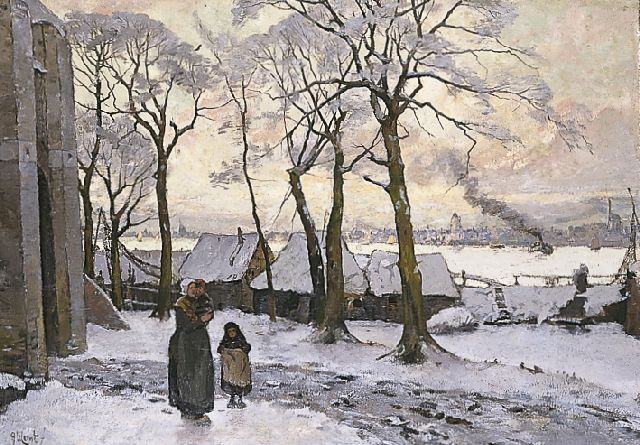 Adolf le Comte | A winter landscape with women and children, oil on canvas, 89.0 x 127.5 cm, signed l.l.