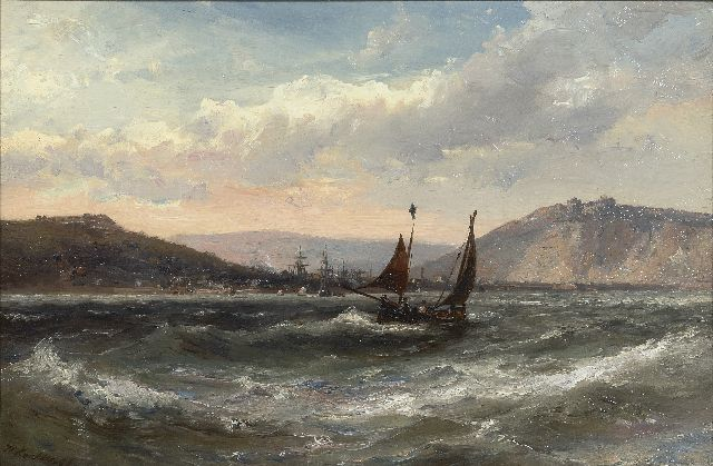 Hermanus Koekkoek jr. | Sailing vessels in choppy seas, oil on canvas, 30.0 x 45.2 cm, signed l.l.
