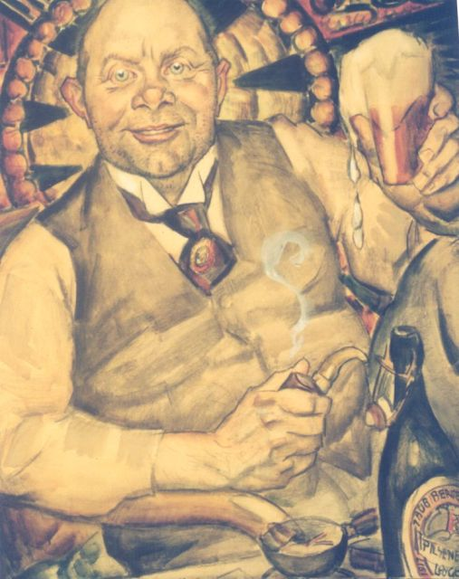 Leo Gestel | Piet Boendermaker, black chalk and watercolour on paper, 77.5 x 69.0 cm, signed l.r. and dated August 1st Bergen 1917 on the bottle