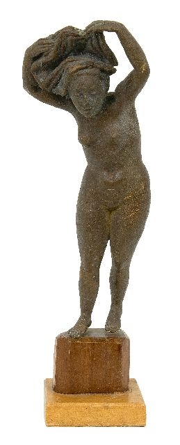 Pieter Starreveld | Female nude with hair put up, bronze, 30.7 cm, signed mit Monogramm
