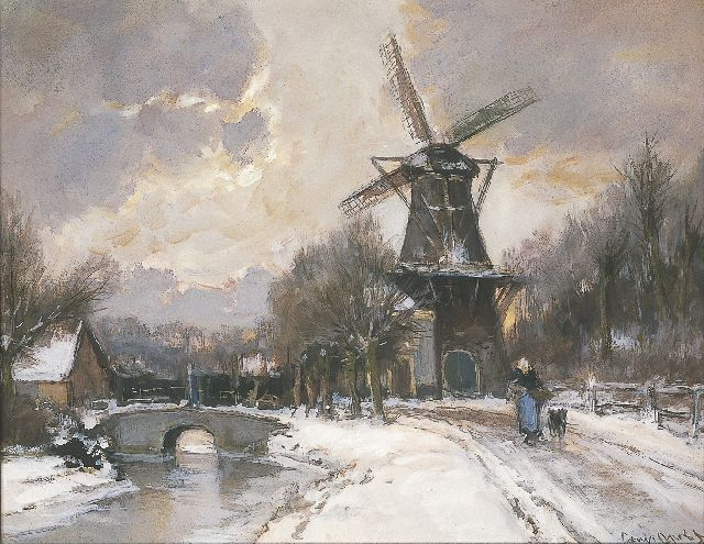Louis Apol | Flourmill, Parkweg Voorburg, watercolour and gouache on paper, 43.0 x 54.2 cm, signed l.r.