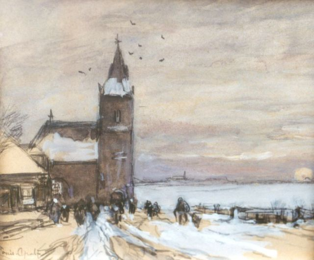 Louis Apol | Church-attendance in a snow-covered landscape, watercolour on paper, 13.1 x 15.2 cm, signed l.l.