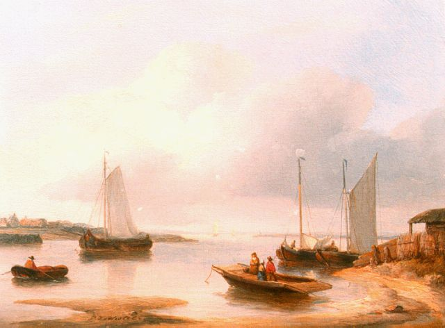Petrus Johannes Schotel | Vessels in a calm, oil on panel, 14.9 x 20.0 cm, signed c.l.