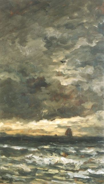 Hendrik Willem Mesdag | Evening twilight, oil on panel, 55.3 x 32.4 cm, signed l.l. with initials