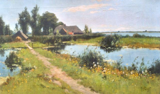 Zwart A.J.  | A polder landscape, Noorden, oil on canvas 45.5 x 80.2 cm, signed l.r. and on the reverse