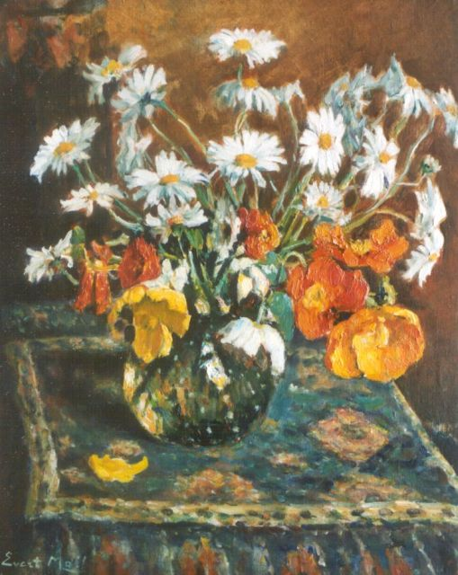 Evert Moll | Daisies and tulips, oil on canvas, 70.0 x 59.8 cm, signed l.l.