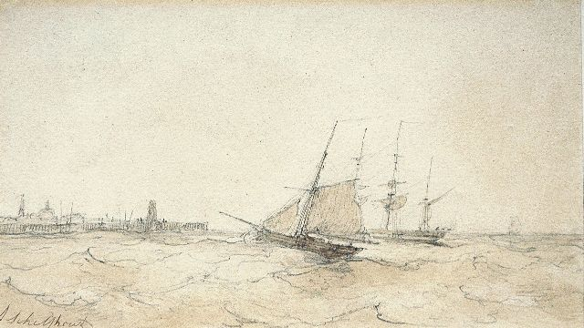 Andreas Schelfhout | The arrival of the fleet, pencil, pen and sepia on paper, 13.5 x 22.5 cm, signed l.l.