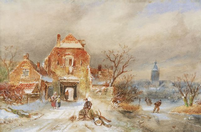 Leickert C.H.J.  | A town in winter with skaters, watercolour on paper, 23.1 x 34.8 cm, signed l.l.