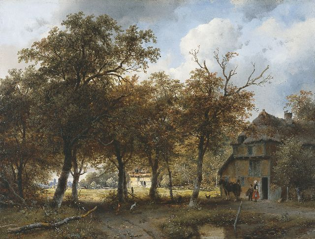Andreas Schelfhout | A wooded landscape with farms and a city in the distance, oil on panel, 40.3 x 52.9 cm, signed l.l. and painted 1843