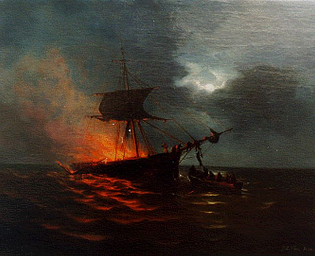 George Lourens Kiers | Burning ship, oil on canvas, 46.7 x 57.3 cm, signed l.r. and dated '68