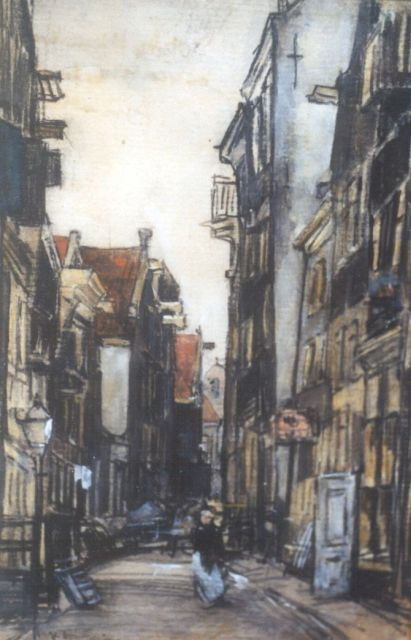 Floris Arntzenius | A sunlit street, black chalk and watercolour on paper, 18.6 x 12.3 cm, signed l.l.