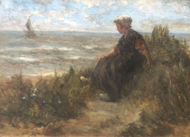 Jozef Israëls | Awaiting father's return, oil on panel, 24.3 x 33.2 cm, signed l.l.