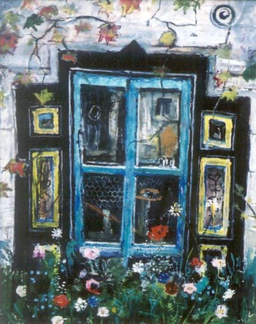 Harm Kamerlingh Onnes | A window surrounded by flowers, oil on canvas, 58.0 x 45.0 cm, signed l.l. and dated '70