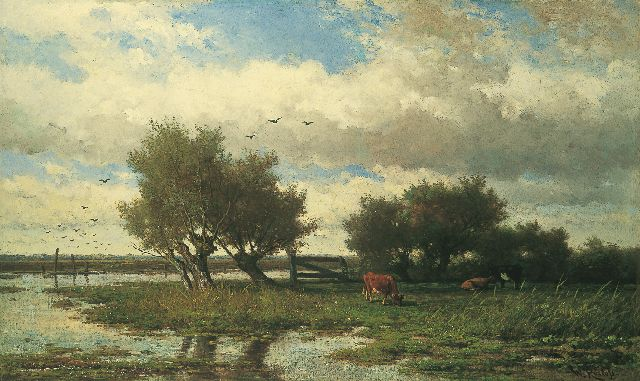 Roelofs W.  | Cattle in a polder landscape, oil on canvas, 84.0 x 139.0 cm, signed l.r. and painted circa 1860