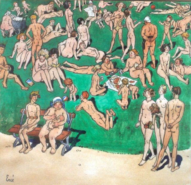 René Choprix | A parc in Brussels; a nudist's fantasy, ink, watercolour and gouache on paper, 25.7 x 26.6 cm, signed l.l. 'Erné, an anagram of René