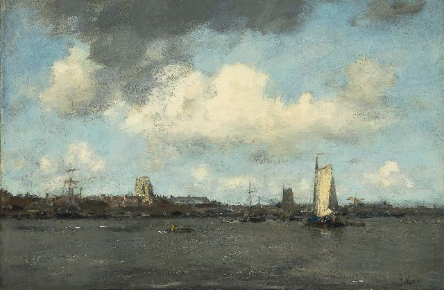 Jacob Maris | Shipping on the river Merwede, Dordrecht, oil on canvas, 58.7 x 89.0 cm, signed l.r.