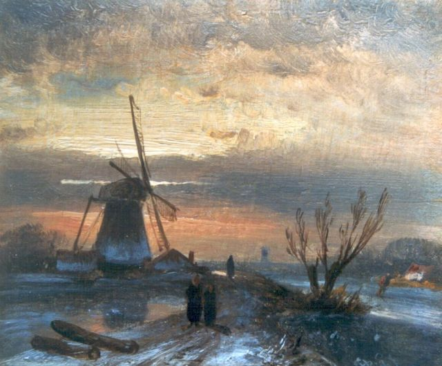 Charles Leickert | A frozen river with a windmill, oil on panel, 9.2 x 11.0 cm, signed l.r. with initials