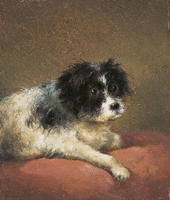Andreas Schelfhout | A terrier, oil on panel, 32.1 x 27.3 cm, signed l.l. and dated '47