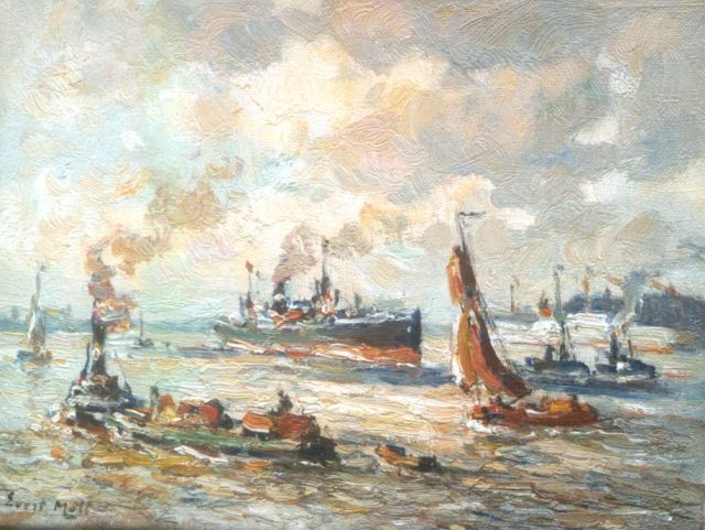 Evert Moll | Ships in the harbour of Rotterdam, oil on canvas, 19.3 x 25.4 cm, signed l.l.