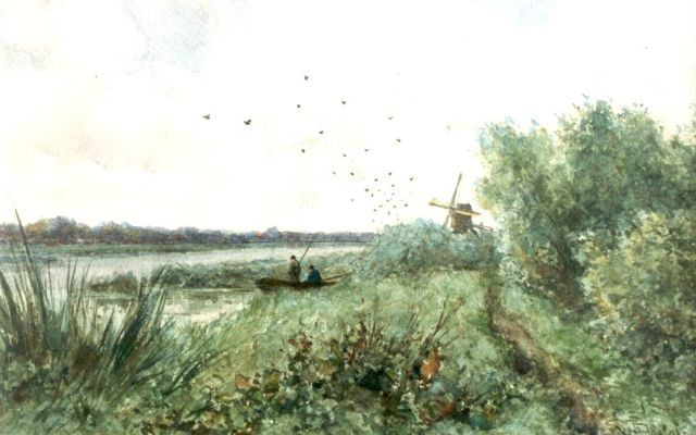Willem Roelofs | Anglers near a river, watercolour on paper, 21.2 x 33.2 cm, signed l.r.