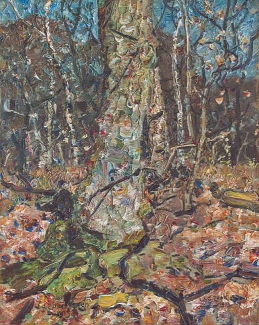 Zandleven J.A.  | Forest view, oil on canvas laid down on board 40.7 x 33.0 cm, signed l.r. and dated 1913