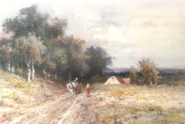 Piet Schipperus | Figures on a country road, watercolour on paper, 23.3 x 34.5 cm, signed l.r. and dated 1918