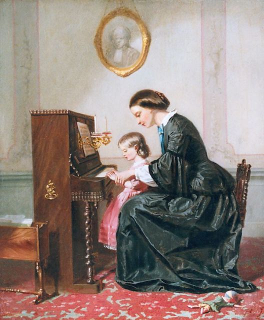 Jozef Hoevenaar | The piano lesson, oil on panel, 29.8 x 24.9 cm, signed l.r. with monogram