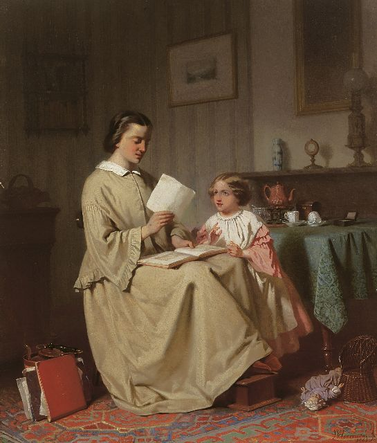 Willem Pieter Hoevenaar | A mother reading a story, oil on panel, 54.6 x 46.3 cm, signed l.r. and painted 1862