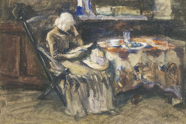 Toorop J.Th.  | Annie Hall, the artist's wife, reading, watercolour and gouache on paper, 40.0 x 59.0 cm, signed l.r.