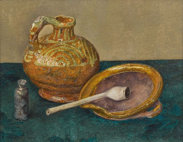 Tjitske Geertruida Maria van Hettinga Tromp | Still life with pottery and a pipe, oil on panel, 21.5 x 27.1 cm, signed l.l. and dated 1910