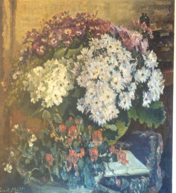 Evert Moll | A flower still life, oil on canvas, 90.0 x 49.5 cm