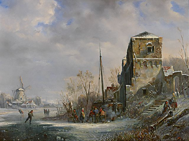 Willem George Wagner | Canal in the snow with skaters on the ice, oil on panel, 39.3 x 52.4 cm, signed l.r. and dated 1838