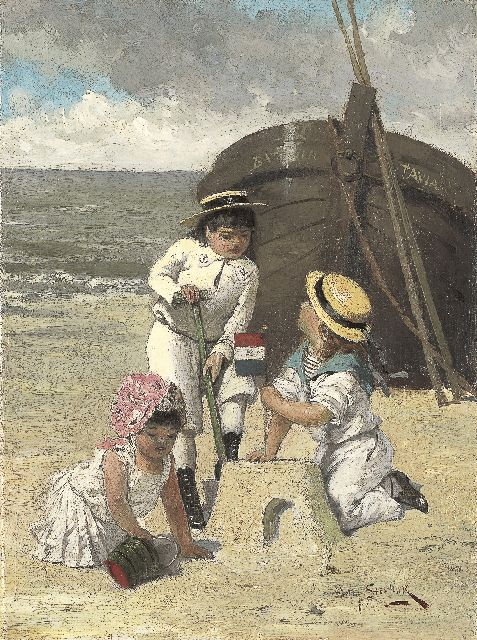 Willem Steelink jr. | Children playing on the beach, oil on canvas, 28.3 x 20.9 cm, signed l.r.