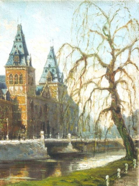 Jan Gerard Smits | A view of the Rijksmuseum, Amsterdam, oil on canvas, 24.5 x 18.3 cm, signed l.r.