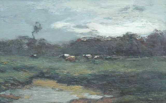Ype Wenning | Cows in a meadow, oil on panel, 13.9 x 21.2 cm, signed l.r.