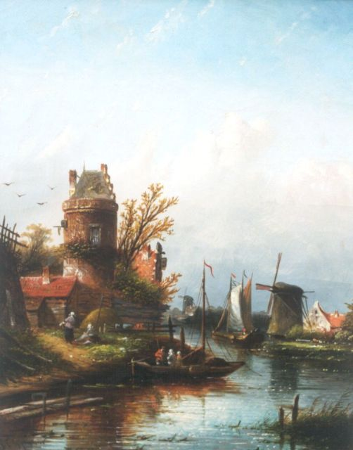 Jacob Jan Coenraad Spohler | A river landscape near Buiksloot, oil on canvas, 44.0 x 35.0 cm, signed l.l.