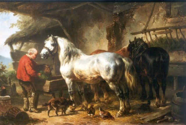 Wouterus Verschuur | Feeding the horses, oil on panel, 27.3 x 40.2 cm, signed l.l.