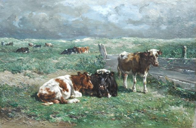 Jan de Haas | Resting cattle at pasture, oil on panel, 31.3 x 47.1 cm, signed l.r.