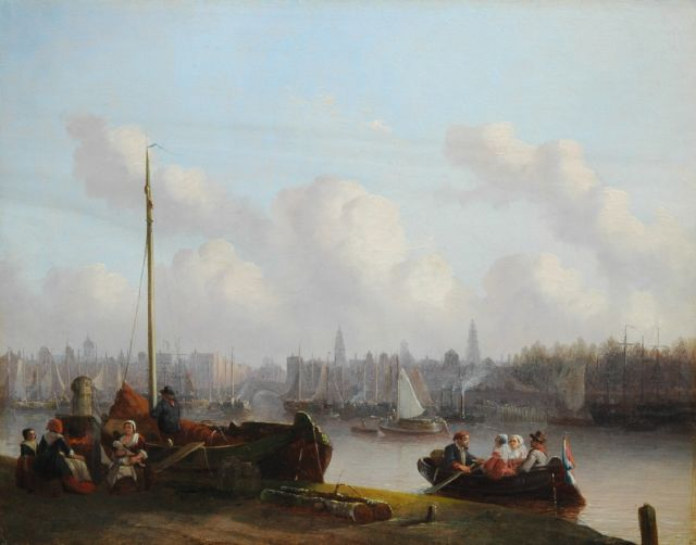Joseph Bles | The quay of Antwerpen, oil on panel, 44.1 x 56.4 cm, signed l.l. and dated 18.4 (1854?)