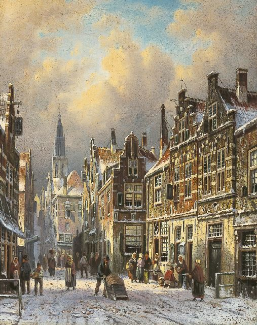 Johannes Franciscus Spohler | Delft in winter, oil on panel, 27.1 x 21.3 cm, signed l.r.