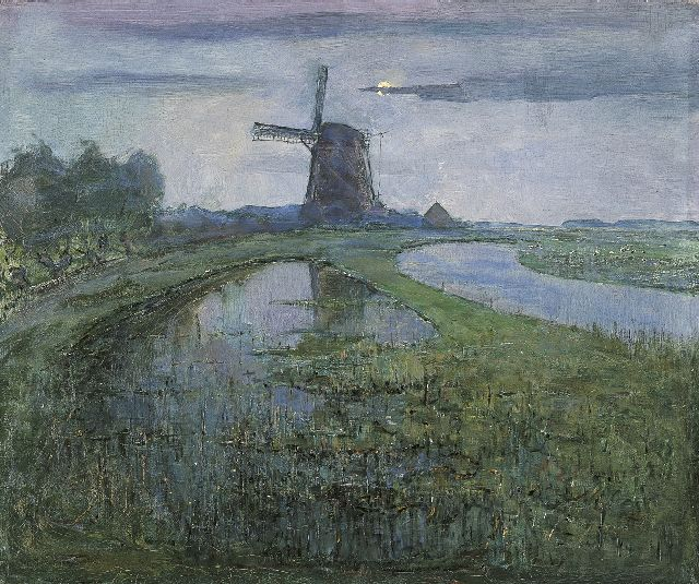 Mondriaan P.C.  | The river Gein with the Oostzijdse Molen, oil on canvas, 63.0 x 75.4 cm, signed l.l. and painted circa 1902-1903