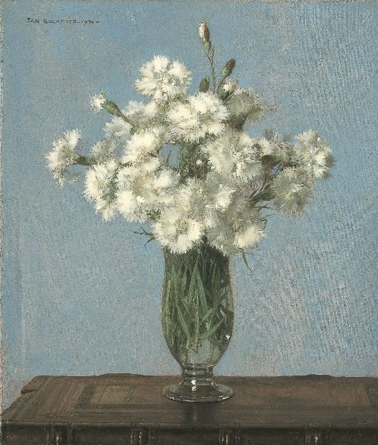 Jan Bogaerts | White carnations in a glass vase, oil on canvas, 35.2 x 30.2 cm, signed u.l. and dated 1936