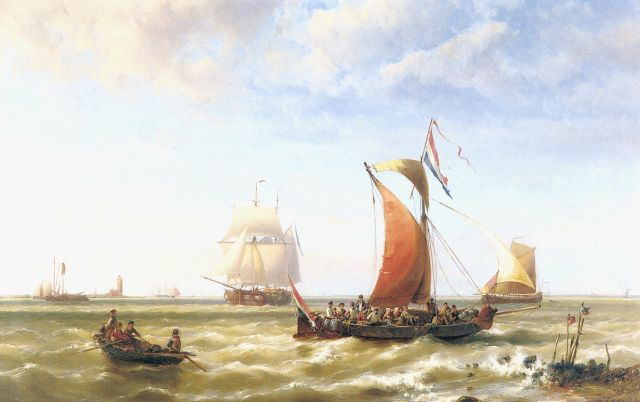 Hermanus Koekkoek jr. | Shipping off the coast, oil on panel, 78.5 x 120.0 cm, signed l.r. and dated 1868