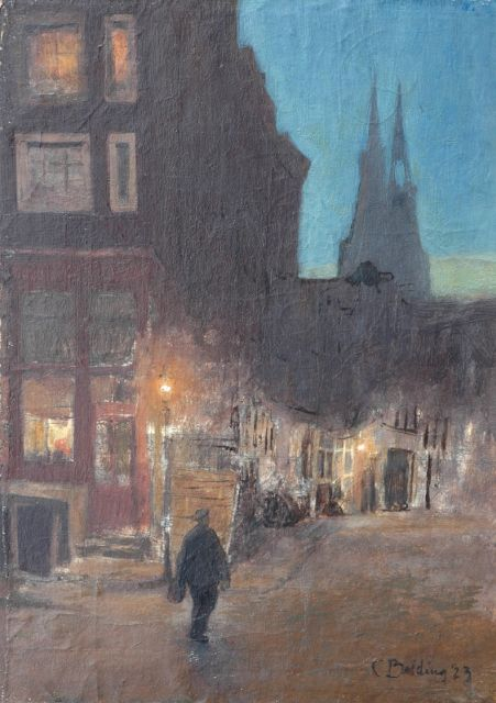 Bolding C.  | Amsterdam street at night, oil on canvas laid down on panel laid down on plywood 47.6 x 35.0 cm, signed l.r. and dated '23